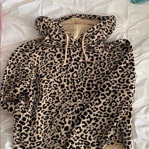 Cropped cheetah hoodie